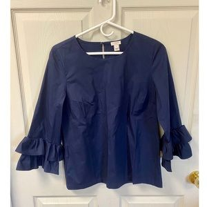 NWT J Crew Top With Ruffle Sleeves